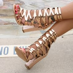 Cutout Caged Chunky Heels