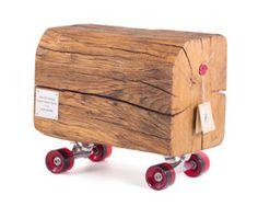 skateboard louis XIV is a 300 year-old oak log on wheels