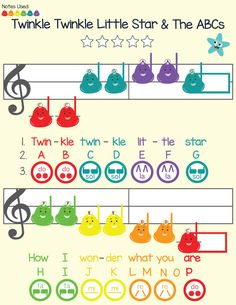 Discover a music curriculum that's easy, colorful and fun at school and home. Easy to read sheet music for Boomwhackers, Solfege Hand Signs, Bells and Piano. Featuring Twinkle Twinkle Little Star and 11 other kid-favorites. 60+ Preschool Music Lessons, worksheets, coloring pages, and much much more!
