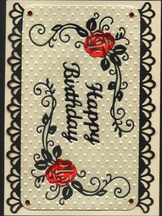 Tattered Lace Rose Birthday Card Cream Black and Red