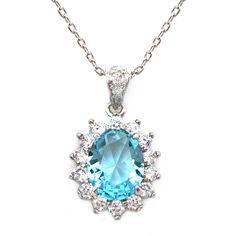 Sparkly Bride Crown Aqua Blue Cubic Zirconia Rhodium Plated Fashion Pendant Necklace 16 inches
