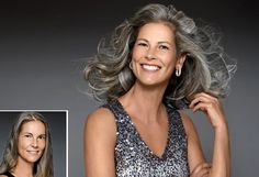 """""""Regina's color—a drab brown—can get yellowish and dull when it starts to turn gray. I used a violet shampoo to remove dull yellow and enhance the silver. Then I applied a clear gloss to add shine."""""""
