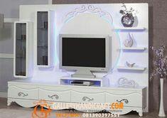 Backdrop Bufet Tv Warna Putih Mewah