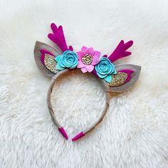 Deer Antlers with Ears Handmade Felt Flower Headband with Glitter // Fuchsia, pink, gold, and swan blue // spring deer