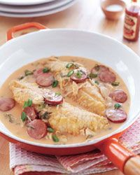 Snapper with Spicy Crab-and-Andouille Sauce.  In honor of the opening of R'evolution New Orleans, here's a cajun recipe from legendary Chef John Folse.