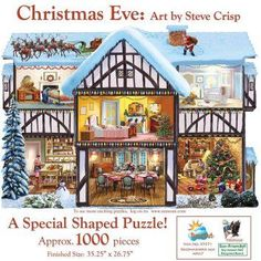 Christmas Eve Shaped Jigsaw PuzzleChristmas jigsaw puzzles are cute, adorable and a fun activity to do with family and friends.  I especially love the Thomas kinkade Christmas jigsaw puzzles.   I love how these puzzles are so colorful, vivid and pretty to look at.  In fact, if you use puzzle glue and a frame you can have something to remember each and every Christmas by.  Jigsaw puzzles encourage closeness, teamwork and hours of entertainment especially awesome for a cold Christmas 2017.