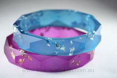 Faceted Resin Bracelet, Teal Blue with Silver Leaf Flakes by Beadevolution on Etsy