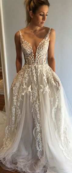 fashion ivory lace wedding dress with court train, elegant deep v-neck  bridal dress with tulle train #laceweddingdresses