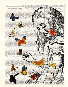 Book print Alice in Wonderland Playing with butterflies by PRRINT, $7.99