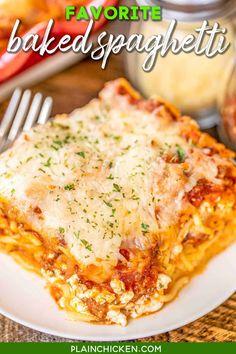 Spaghetti Casserole, Baked Spaghetti, Cheese Spaghetti, Spaghetti Recipes, Pasta Spaghetti, Recipe For Spaghetti Pie, Casserole Dishes, Casserole Recipes, Meat Recipes