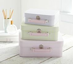 Gingham Nesting Suitcases #PotteryBarnKids