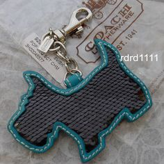 Coach Black Sequins Scottie Dog Charm Keychain Keyring Key Fob New   eBay