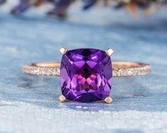 HANDMADE RINGS & BRIDAL SETS by MoissaniteRings on Etsy Bridal Ring Sets, Handmade Rings, Amethyst, Gemstone Rings, Etsy Seller, Engagement Rings, Gemstones, Merry, Accessories