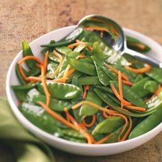 Snow Pea Carrot Saute Recipe -With bright carrot strips and green snow peas, this makes a colorful dish with any entree. Short on time? You can also buy matchstick carrots at the grocery store. Side Dish Recipes, Vegetable Recipes, Side Dishes, Cooking Recipes, Healthy Recipes, Diabetic Recipes, Diabetic Foods, Diabetic Desserts, Simple Recipes