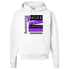 Pancreatic Cancer Pullover Hoodie - White | Hope Dreams Cancer Awareness Ribbon Shirts and Gifts