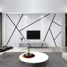 Accent Wall Designs, Bedroom Wall Designs, Home Living Room, Living Room Decor, Living Room Tv Unit Designs, Triangle Wall, Cleaning Walls, Home Room Design, House Rooms