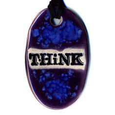 Think Ceramic Necklace in Purple and Blue by surly on Etsy, $18.00
