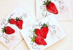 watercolor ~ strawberries :)