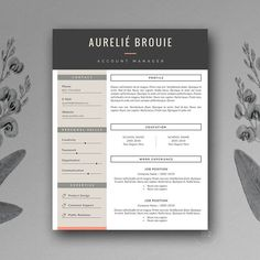 Resume Templates: Botanica Paperie - CV Template for MS Word Cover Letter Template, Template Cv, Resume Design Template, Letter Templates, Resume Templates, Design Templates, Business Brochure, Business Card Logo, Texture Web
