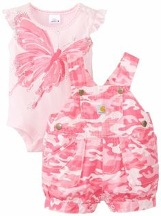 Carhartt Baby-Girls Infant Washed Ripstop Shortall Set