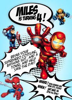 Super Hero Birthday Invitation by SunsetAnalog on Etsy, $7.00
