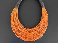 """www.cewax.fr love this statement necklace ethno tendance, style ethnique, #Africanfashion, #ethnicjewelry - CéWax aussi fait des bijoux : http://www.alittlemarket.com/collier/fr_collier_plastron_multi_rang_ethnique_en_tissu_africain_beige_prune_jaune_-15921837.html -  Déclaration fibre collier, bijoux africain, mode de rue, une tendance collier, """"BOLD"""" collier"""