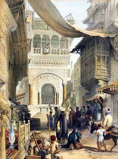 Streets of Cairo BY Owen Browne Carter - ( British , 1806 – 1859 ) Lithograph Egypt Art, Old Egypt, Cairo, Carl Spitzweg, Empire Ottoman, Arabian Art, Islamic Paintings, Desert Art, Academic Art