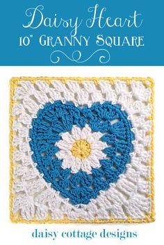 "10"" Crochet Square with Daisy Center - Daisy Cottage Designs"