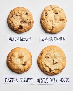 Who Wins the Title of Best Chocolate Chip Cookie Ever? This is the ultimate chocolate chip cookie battle. We made recipes from Alton Brown, Joanna Gaines, Martha Stewart and Nestle Toll House, to see which cookies took first place. Best Chocolate Chip Cookies Recipe, Pecan Cookies, Chip Cookie Recipe, Cookie Recipes, Homemade Cookies, Chocolate Chip Cookies Martha Stewart, Toll House Chocolate Chip Recipe, Martha Stewart Macarons, Martha Stewart Recipes Cookies