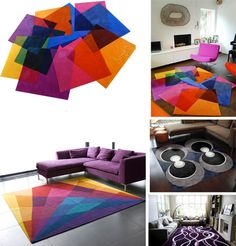 modern contemporary carpet designs - love the rainbow square wool rug most, reminds me of the rug I have now in the living room but funkier :)