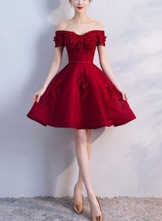 graduation outfit ideas Off Shoulder Wine Red Short Beaded Homecoming Dress, Short Prom Dress, Graduation Party Dress Short Red Prom Dresses, Red Homecoming Dresses, Hoco Dresses, Pretty Dresses, Sexy Dresses, Fashion Dresses, Formal Dresses, Short Prom, Dark Red Dresses