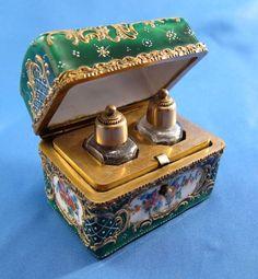 Antique Enamel Perfume Casket  2 Scent Bottles AMAZING