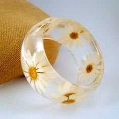 Daisy Resin Bangle  Pressed Daisies by SpottedDogAsheville on Etsy, $44.00