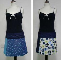 falda reversible manzanas azules  tejido  hilo y velcro coser y planchar