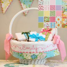 Easter Basket Liner GIRL fits Pottery Barn Kids Sabrina by tadacreations on Etsy