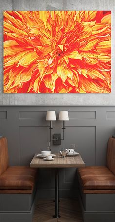 Burning Love by Tim Abeln Photography and Digital Art Prints. Beautiful wall decoration for your home and office. Digitally processed image of a dahlia flower. The original photograph of this beautiful flower with its bright colors, already looked like it was on fire so I decided to maximize the effect by adjusting the colors to red and yellow. #abstract #flowers #wallart #art #fineart #colorful #home #decor