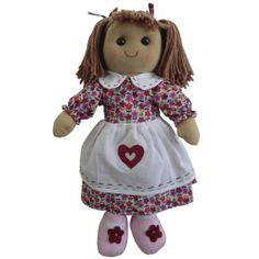 Beautiful Traditional Vintage style Pink Flowepot Powell Craft Rag Doll Cotton