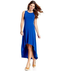New #cobalt Hi-Lo #maxi #dress - Available at #Macys! #blue #spring #maxidress #KarenKane