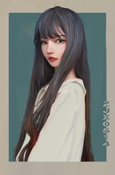 Beautiful Girl like Fashition Digital Art Girl, Digital Portrait, Portrait Art, Pretty Art, Cute Art, Art Sketches, Art Drawings, Digital Art Tutorial, Wow Art