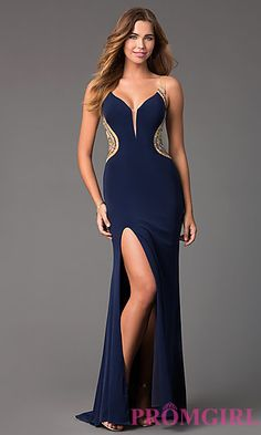 Long V-Neck Dress with a Sheer Back by Terani at PromGirl.com