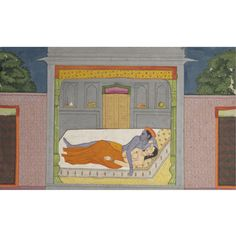 An Illustration from the Sunder Shringar: Radha and Krishna Lying on a Bed. Opaque watercolor heightened with gold on paper, India, Kangra or Guler, ca. 1780, Krishna and a partially disrobed Radha are pictured reclining in their bed chamber, their bodies entwined after having drunk their fill of love. Pichwai Paintings, Mughal Paintings, Indian Paintings, Sexy Painting, Ancient Indian Art, Southeast Asian Arts, Krishna Art, Radhe Krishna, Madhubani Art