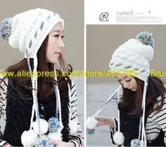 2013 Korean version of the autumn and winter fashion lady hat color hair ball twist twist ear hat knitting wool warm tide $13.38