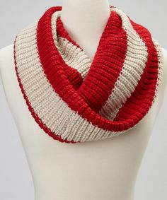 Take a look at this Red & Cream Stripe Rikka Infinity Scarf on zulily today!