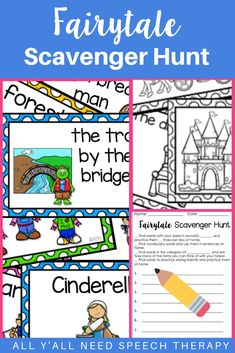 Target goals in mixed groups in your speech therapy class with these speech scavenger hunts for kids. This fun fairy tale theme pairs perfectly with books that kids know and love. Color and B&W cards plus homework are included! Scavenger Hunt For Kids, Scavenger Hunts, Speech Language Therapy, Speech And Language, Language Arts, Speech Therapy Activities, Language Activities, Receptive Language, Reading Resources