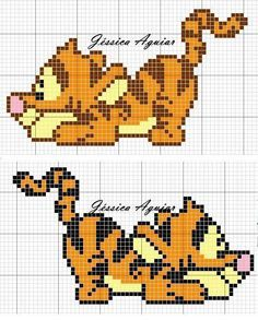 """This pinner has a lot of Winnie the Pooh character cross stitch diagrams on her board """"Projekter, jeg vil prøve"""""""