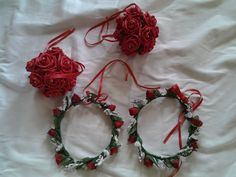 Poly foam red and ivory pomanders and circlets