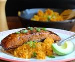 Sweet Balsamic Salmon with Mashed Sweet Potato and Plantain  mycolombianrecipes.com