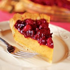 Creamy Pumpkin Pie with Cranberry Topping