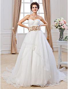 Ball Gown Sweetheart Chapel Train Organza Wedding Dress - USD $ 299.99