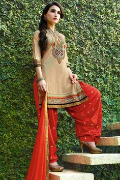 Beige & Rust Cotton Cambric Suit With Chiffon Dupatta